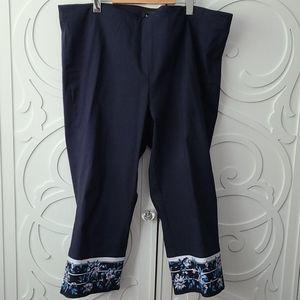 EUC Blue Crop Pants with Floral Detail - Size 22
